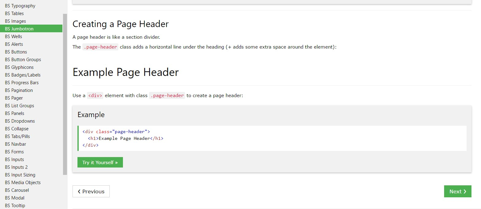 Bootstrap Header  information