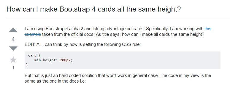 Insights on how can we  establish Bootstrap 4 cards  all the same tallness?