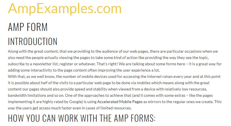 Let's  check out AMP project and AMP-form  feature?