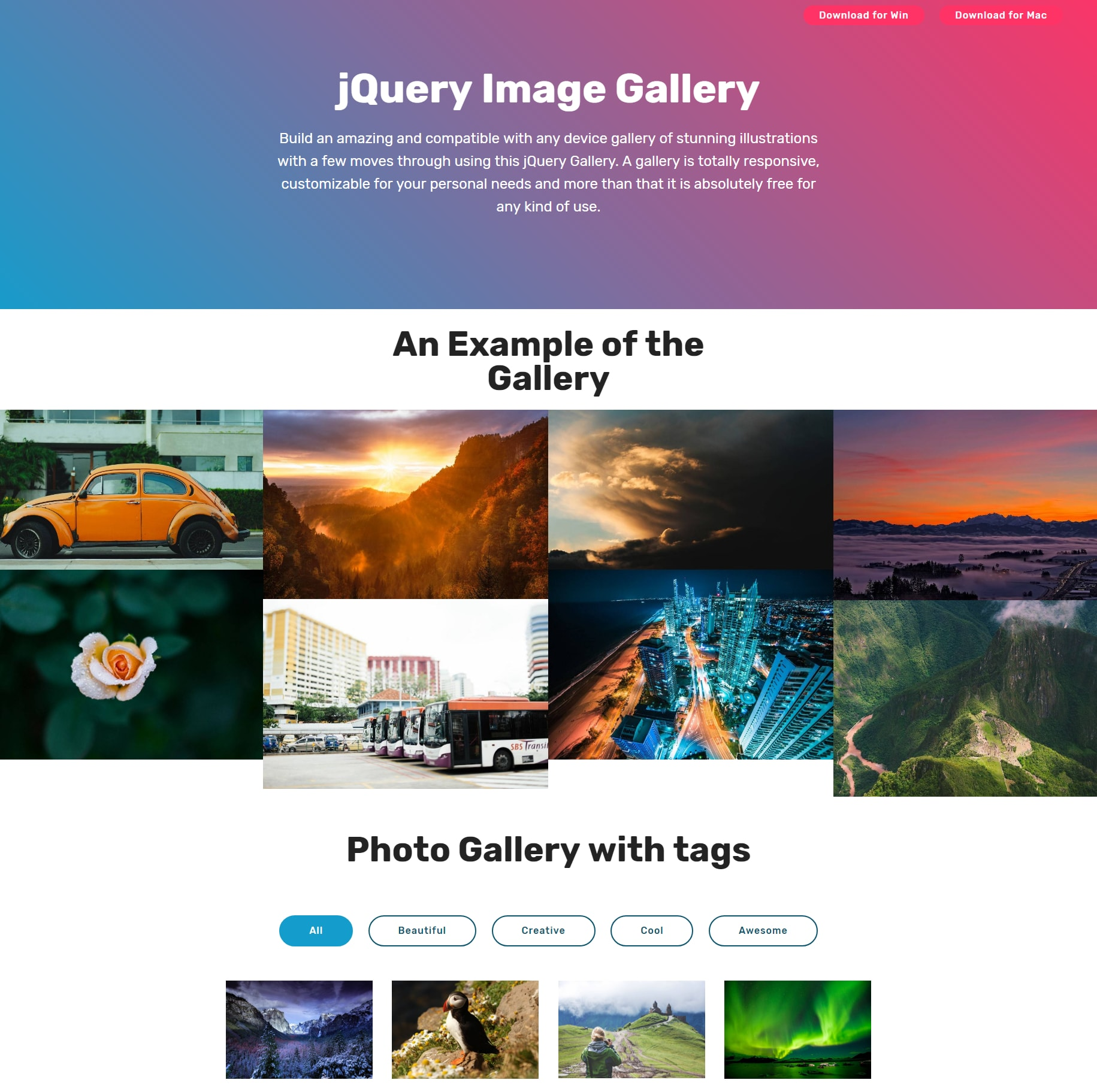Mobile Bootstrap Picture Gallery